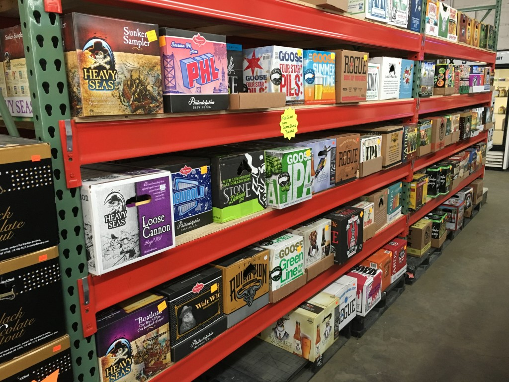 Cases and 12-packs sit together on the shelves at Beer Express in Robinson.