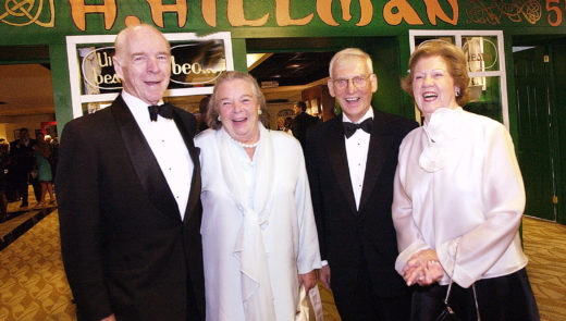 Henry and Elsie Hillman, left, and Dan and Pat Rooney, right, make an appearance for the American Ireland Fund in 2004. (John Heller/Post-Gazette)