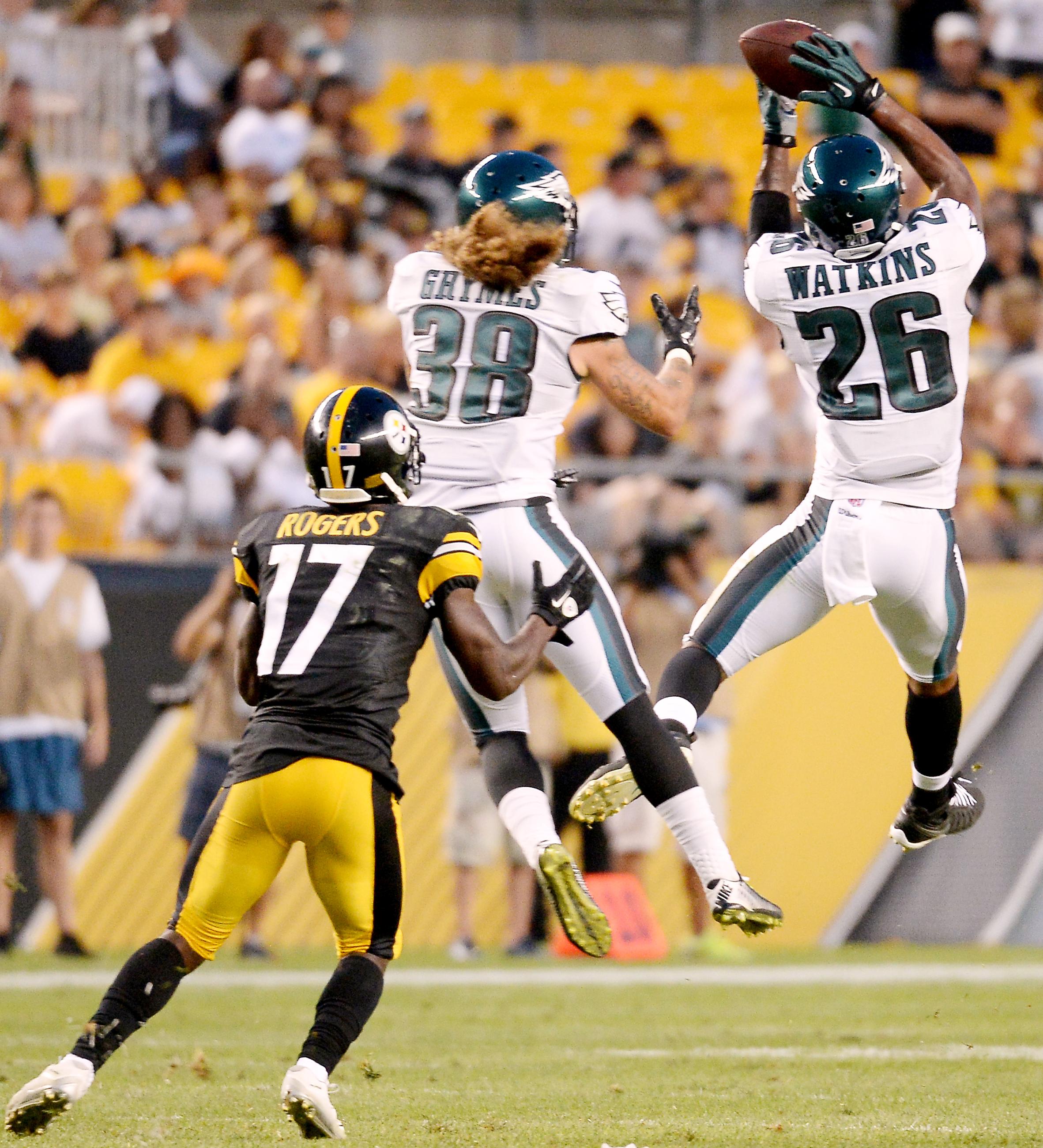 Eagles' Jaylen Watkins intercepts a ball intended for Steelers' Eli Rogers in the second quarter Thursday at Heinz Field. (Matt Freed/Post-Gazette)