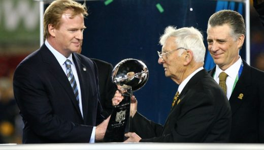 NFL commissioner Roger Goodell presents Dan Rooney with the Lombardi Trophy following Super Bowl XLIII (Al Bello/Getty Images)