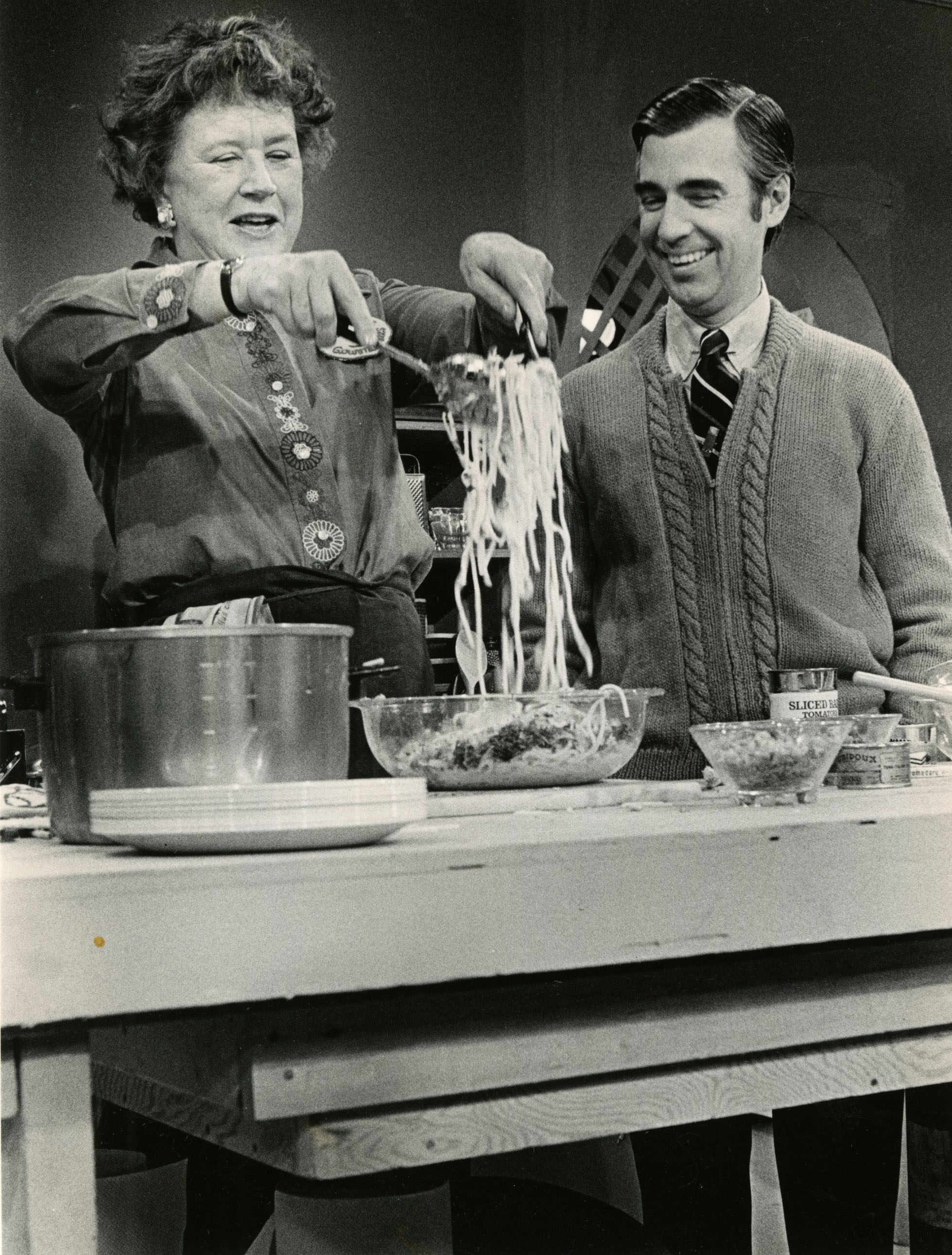 Fred Rogers in 1980 with Julia Child, whose French cooking program aired on PBS and attracted a wide audience. (Post-Gazette Archives)