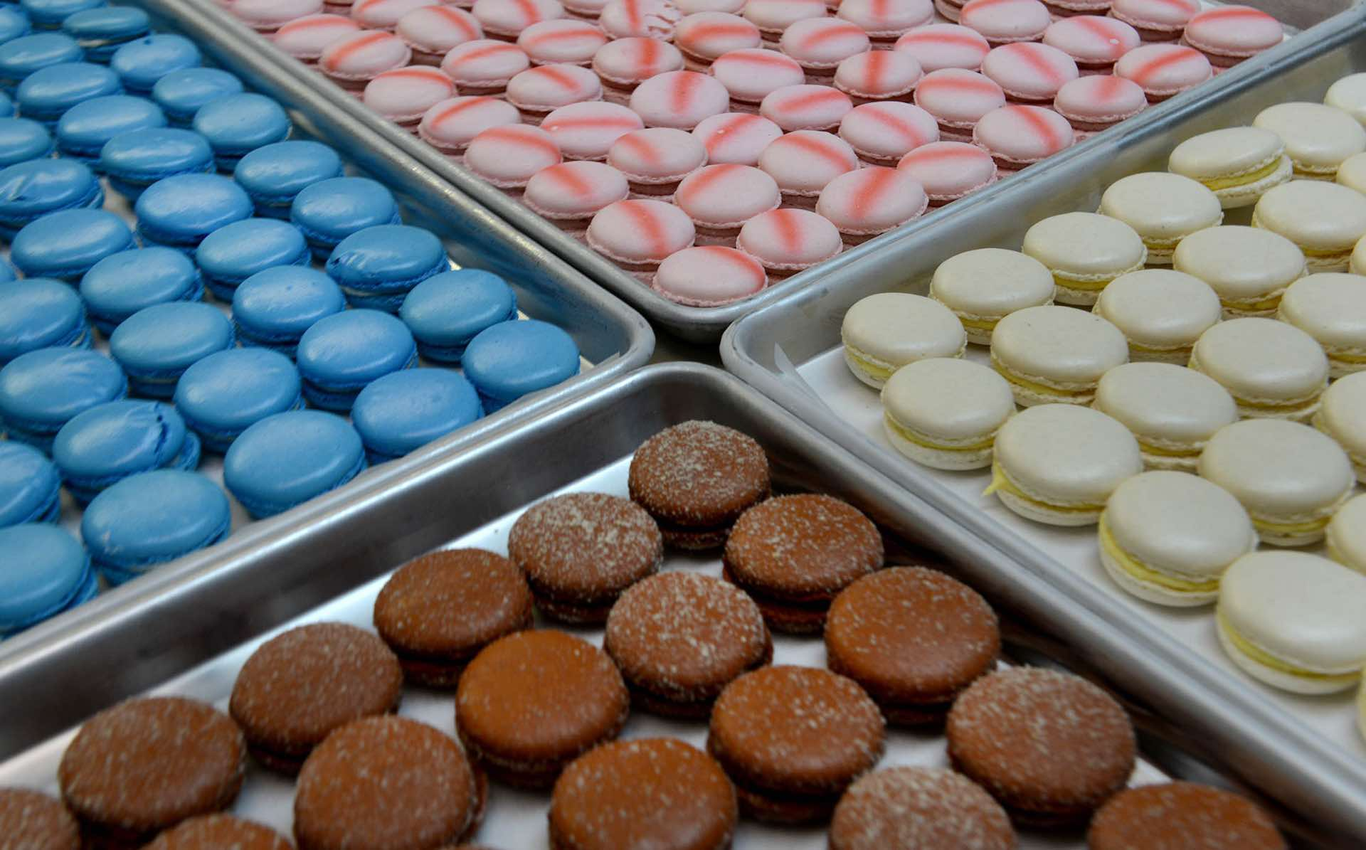 These are marzipan, nutella, strawberry and vanilla flavored macarons at Jean-Marc Chatellier's Bakery in Millvale. (Michael Henninger/Post-Gazette)