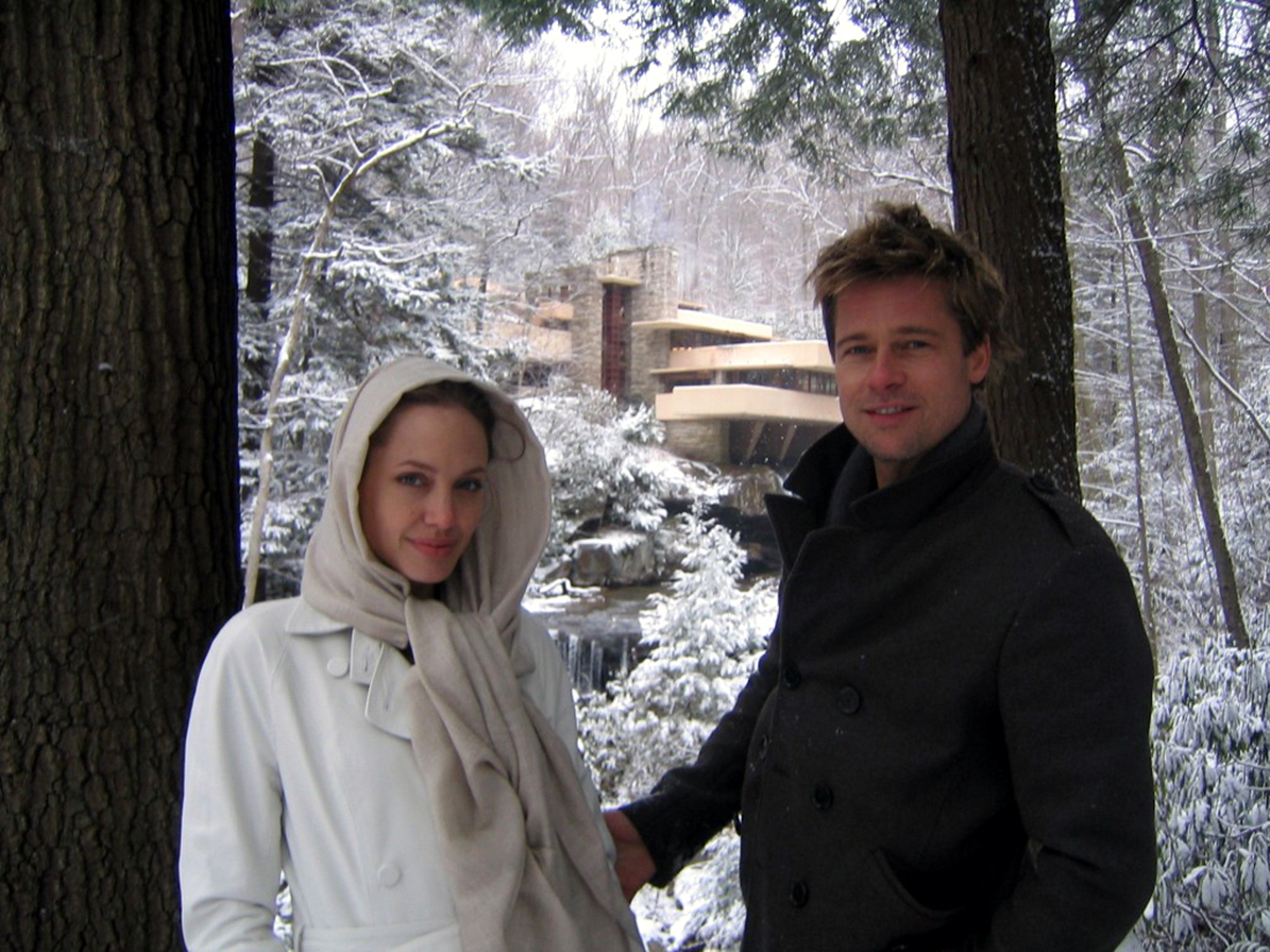 Angelina Jolie and Brad Pitt visit Frank Lloyd Wright's Fallingwater on December 7, 2006