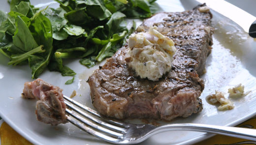 Strip Steak with Earthy Butter
