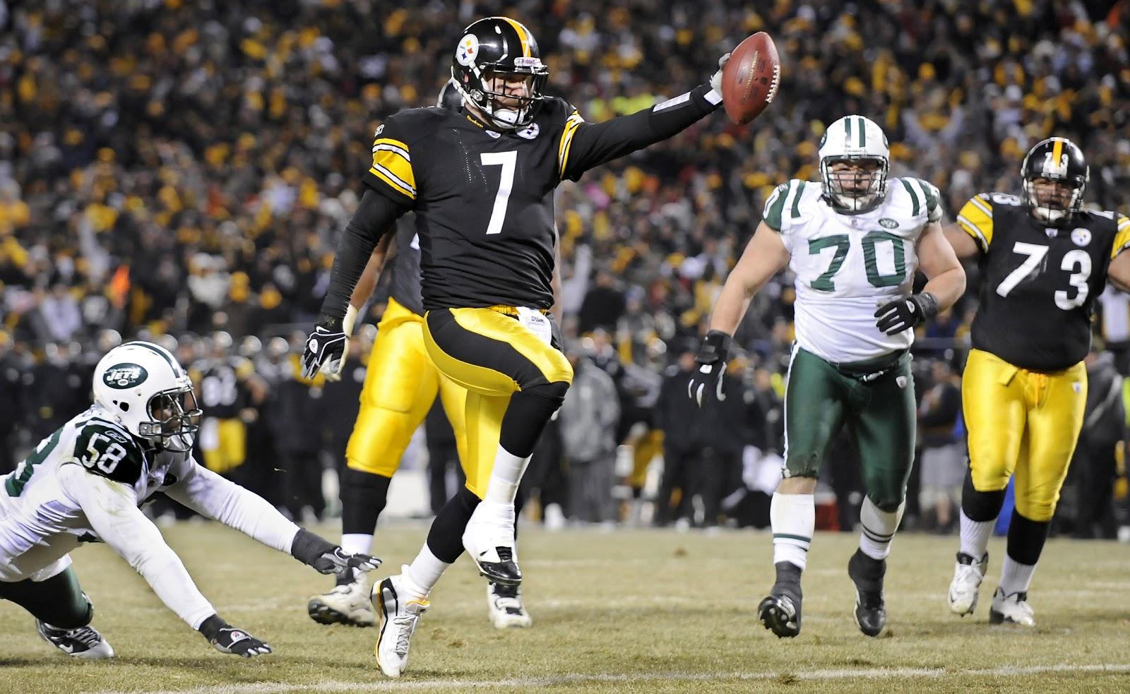 Aqui Big Ben correndo para um dos touchdowns marcados pelo Pittsburgh Steelers na final de Conferência da AFC contra o New York Jets  Foto: Pittsburgh Post-Gazette