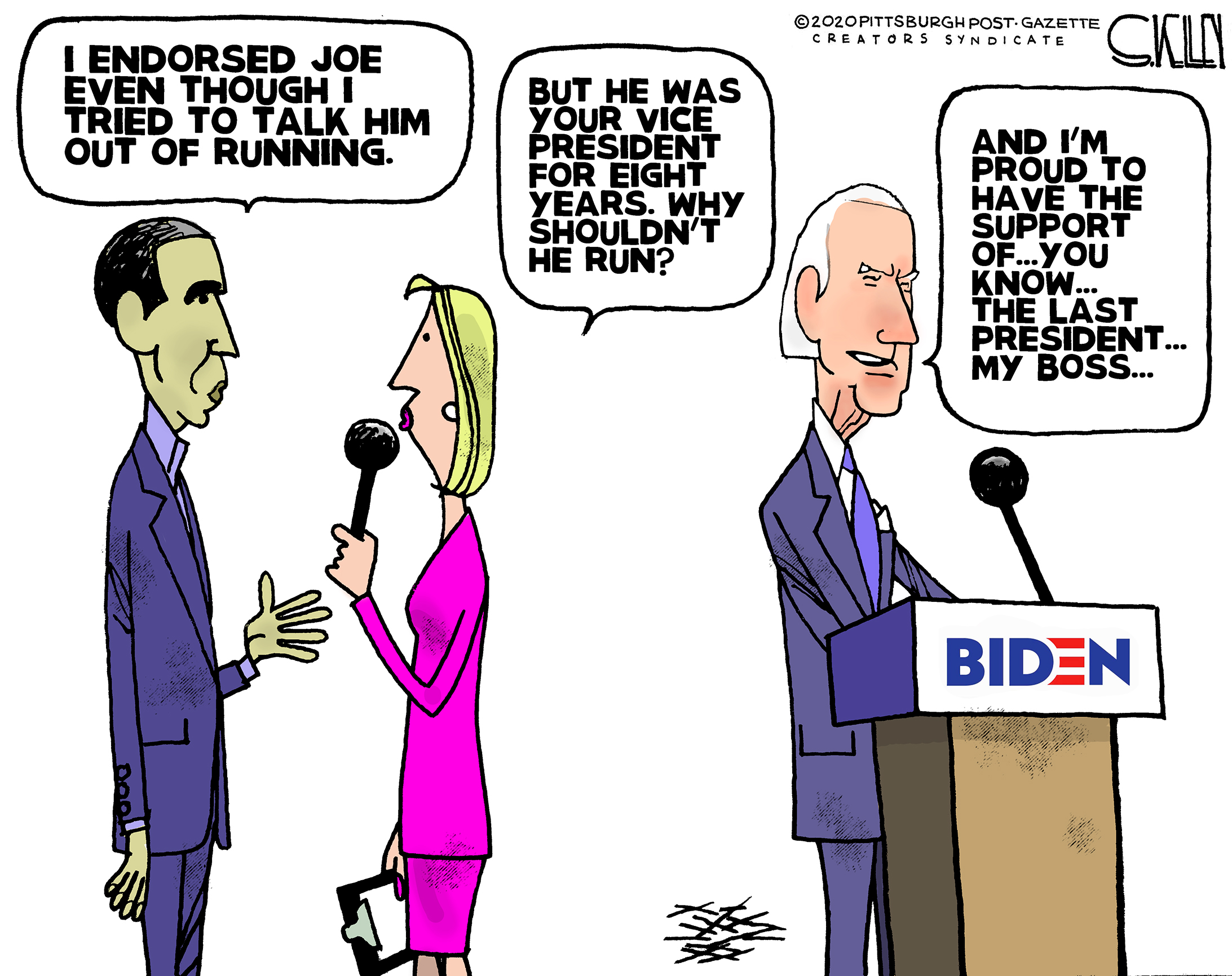 Joe Biden Steve Kelley Pittsburgh Post Gazette Editorial Cartoonist