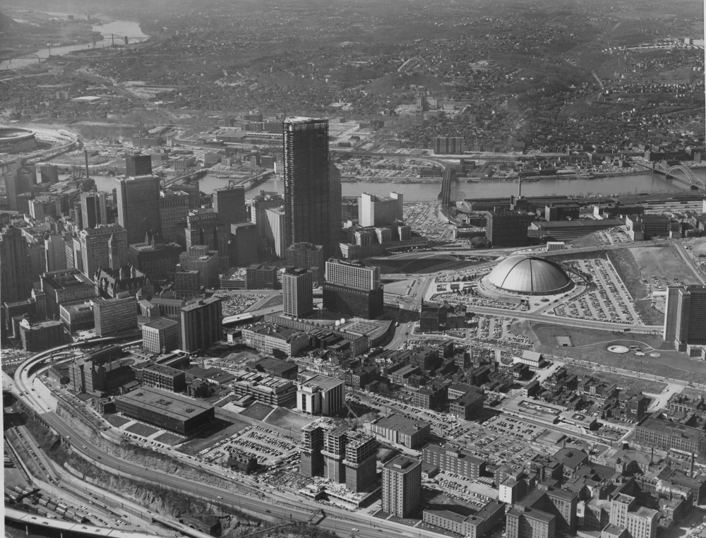 Pittsburgh aerial views and skylines 1970s